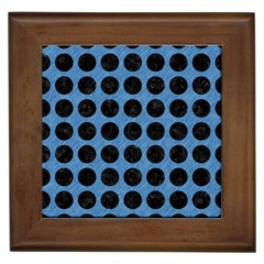 Circles1 Black Marble & Blue Colored Pencil (r) Framed Tile by trendistuff