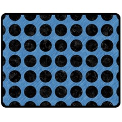 Circles1 Black Marble & Blue Colored Pencil (r) Fleece Blanket (medium) by trendistuff