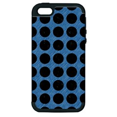 Circles1 Black Marble & Blue Colored Pencil (r) Apple Iphone 5 Hardshell Case (pc+silicone)