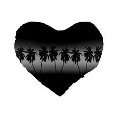 Tropical Sunset Standard 16  Premium Flano Heart Shape Cushions by Valentinaart