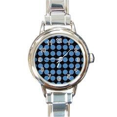 Circles1 Black Marble & Blue Colored Pencil Round Italian Charm Watch by trendistuff