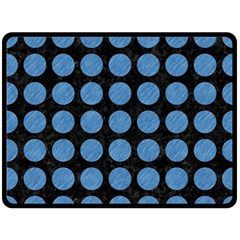 Circles1 Black Marble & Blue Colored Pencil Double Sided Fleece Blanket (large) by trendistuff