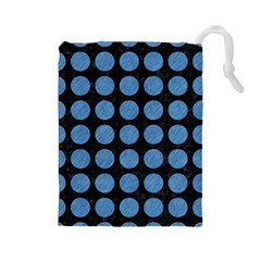 Circles1 Black Marble & Blue Colored Pencil Drawstring Pouch (large) by trendistuff