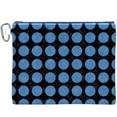 Circles1 Black Marble & Blue Colored Pencil Canvas Cosmetic Bag (xxxl) by trendistuff