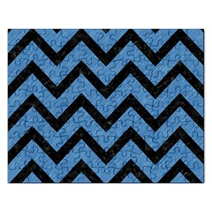 Chevron9 Black Marble & Blue Colored Pencil (r) Jigsaw Puzzle (rectangular)