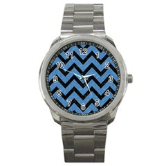 Chevron9 Black Marble & Blue Colored Pencil (r) Sport Metal Watch by trendistuff