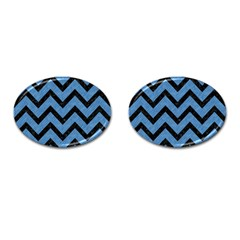 Chevron9 Black Marble & Blue Colored Pencil (r) Cufflinks (oval) by trendistuff