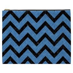 Chevron9 Black Marble & Blue Colored Pencil (r) Cosmetic Bag (xxxl) by trendistuff