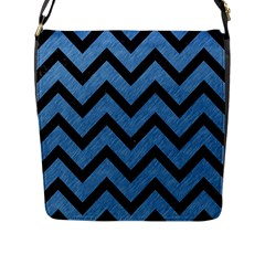 Chevron9 Black Marble & Blue Colored Pencil (r) Flap Closure Messenger Bag (l) by trendistuff