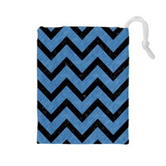 Chevron9 Black Marble & Blue Colored Pencil (r) Drawstring Pouch (large) by trendistuff