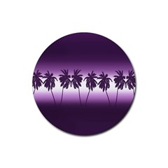 Tropical Sunset Rubber Coaster (round)  by Valentinaart
