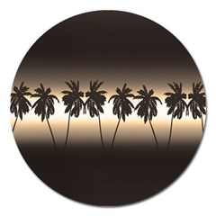 Tropical Sunset Magnet 5  (round) by Valentinaart