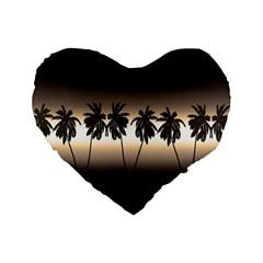 Tropical Sunset Standard 16  Premium Heart Shape Cushions by Valentinaart