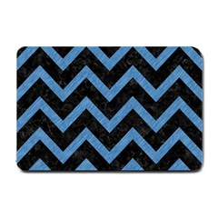 Chevron9 Black Marble & Blue Colored Pencil Small Doormat by trendistuff