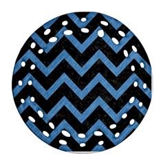 Chevron9 Black Marble & Blue Colored Pencil Ornament (round Filigree) by trendistuff