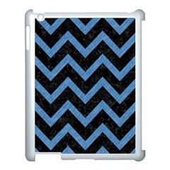 Chevron9 Black Marble & Blue Colored Pencil Apple Ipad 3/4 Case (white) by trendistuff