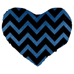Chevron9 Black Marble & Blue Colored Pencil Large 19  Premium Flano Heart Shape Cushion by trendistuff