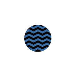 Chevron3 Black Marble & Blue Colored Pencil 1  Mini Magnet