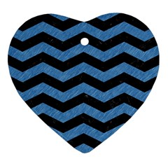 Chevron3 Black Marble & Blue Colored Pencil Heart Ornament (two Sides) by trendistuff