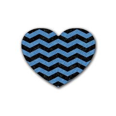 Chevron3 Black Marble & Blue Colored Pencil Rubber Heart Coaster (4 Pack) by trendistuff