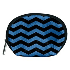 Chevron3 Black Marble & Blue Colored Pencil Accessory Pouch (medium) by trendistuff