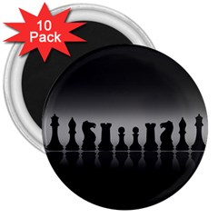 Chess Pieces 3  Magnets (10 Pack)  by Valentinaart