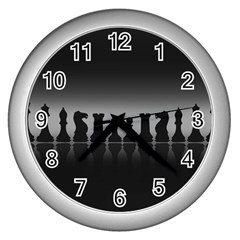 Chess Pieces Wall Clocks (silver)  by Valentinaart