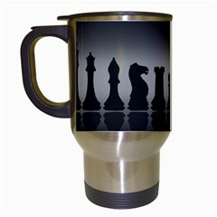 Chess Pieces Travel Mugs (white) by Valentinaart