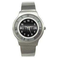 Chess Pieces Stainless Steel Watch by Valentinaart