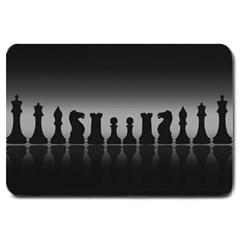 Chess Pieces Large Doormat  by Valentinaart