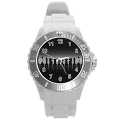 Chess Pieces Round Plastic Sport Watch (l) by Valentinaart