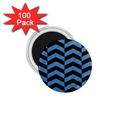 Chevron2 Black Marble & Blue Colored Pencil 1 75  Magnet (100 Pack)  by trendistuff