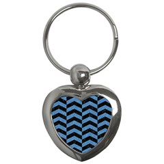 Chevron2 Black Marble & Blue Colored Pencil Key Chain (heart) by trendistuff