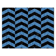Chevron2 Black Marble & Blue Colored Pencil Jigsaw Puzzle (rectangular)