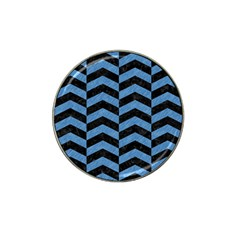 Chevron2 Black Marble & Blue Colored Pencil Hat Clip Ball Marker (4 Pack) by trendistuff
