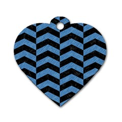 Chevron2 Black Marble & Blue Colored Pencil Dog Tag Heart (two Sides) by trendistuff