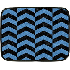 Chevron2 Black Marble & Blue Colored Pencil Fleece Blanket (mini) by trendistuff