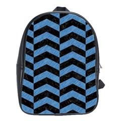 Chevron2 Black Marble & Blue Colored Pencil School Bag (large) by trendistuff