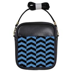 Chevron2 Black Marble & Blue Colored Pencil Girls Sling Bag by trendistuff