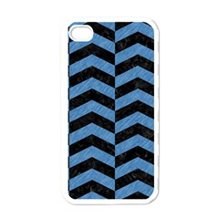 Chevron2 Black Marble & Blue Colored Pencil Apple Iphone 4 Case (white) by trendistuff