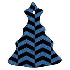 Chevron2 Black Marble & Blue Colored Pencil Christmas Tree Ornament (two Sides) by trendistuff