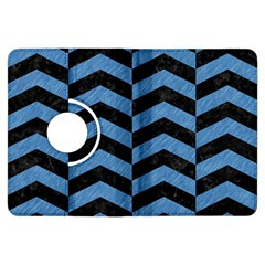 Chevron2 Black Marble & Blue Colored Pencil Kindle Fire Hdx Flip 360 Case by trendistuff