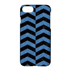 Chevron2 Black Marble & Blue Colored Pencil Apple Iphone 7 Hardshell Case by trendistuff