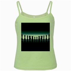 Chess Pieces Green Spaghetti Tank by Valentinaart
