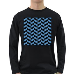 Chevron1 Black Marble & Blue Colored Pencil Long Sleeve Dark T Shirt by trendistuff
