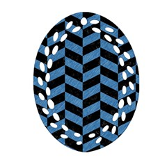 Chevron1 Black Marble & Blue Colored Pencil Ornament (oval Filigree) by trendistuff