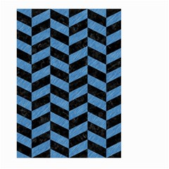 Chevron1 Black Marble & Blue Colored Pencil Large Garden Flag (two Sides) by trendistuff