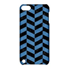 Chevron1 Black Marble & Blue Colored Pencil Apple Ipod Touch 5 Hardshell Case With Stand by trendistuff
