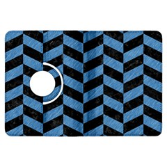 Chevron1 Black Marble & Blue Colored Pencil Kindle Fire Hdx Flip 360 Case by trendistuff