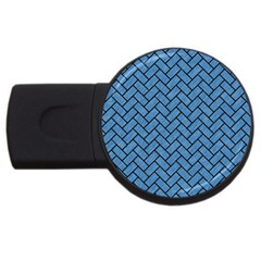 Brick2 Black Marble & Blue Colored Pencil (r) Usb Flash Drive Round (4 Gb) by trendistuff